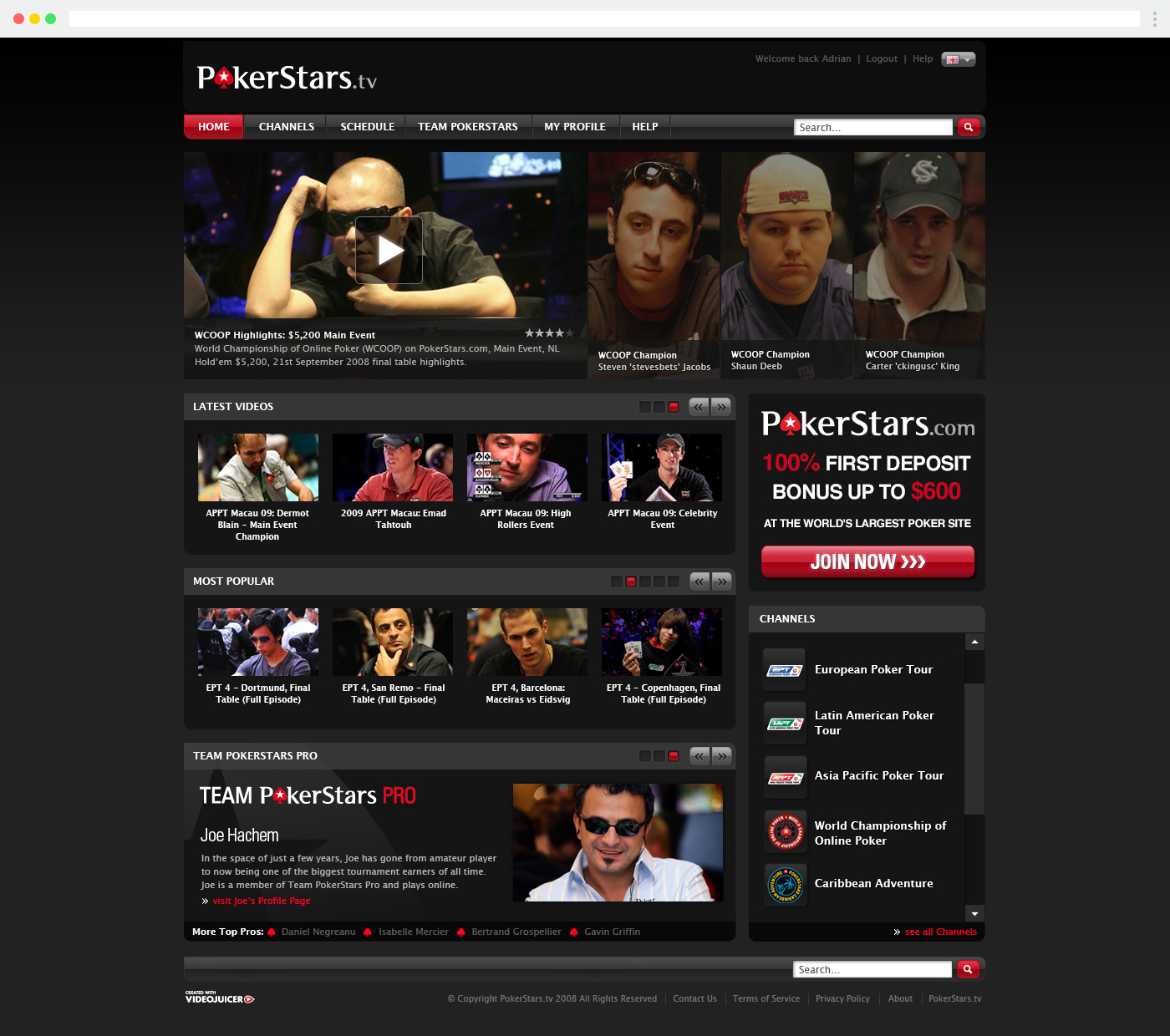Pokerstars.tv homepage