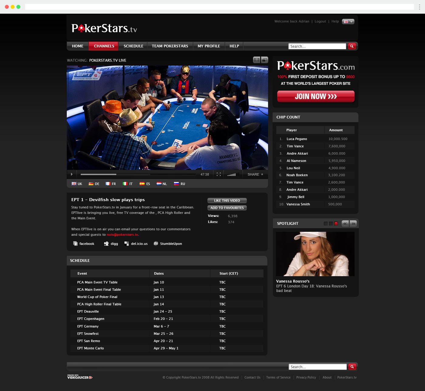 Pokerstars.tv live broadcast page